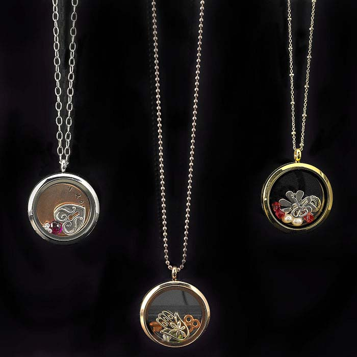 Stainless Steel Round Floating Glass Locket Pendants
