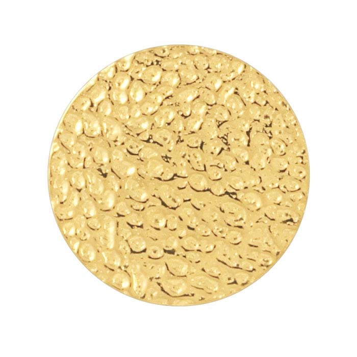 14/20 Yellow Gold-Filled 12mm Pebble-Textured Disc, 28 Ga.