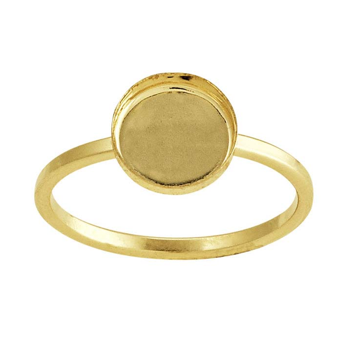 R08GF Choose your size 8mm Round 14k Gold filled bezel cup on Ring Base