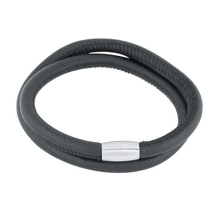 Black Nappa Leather Double-Wrap Bracelet with Magnetic Clasp