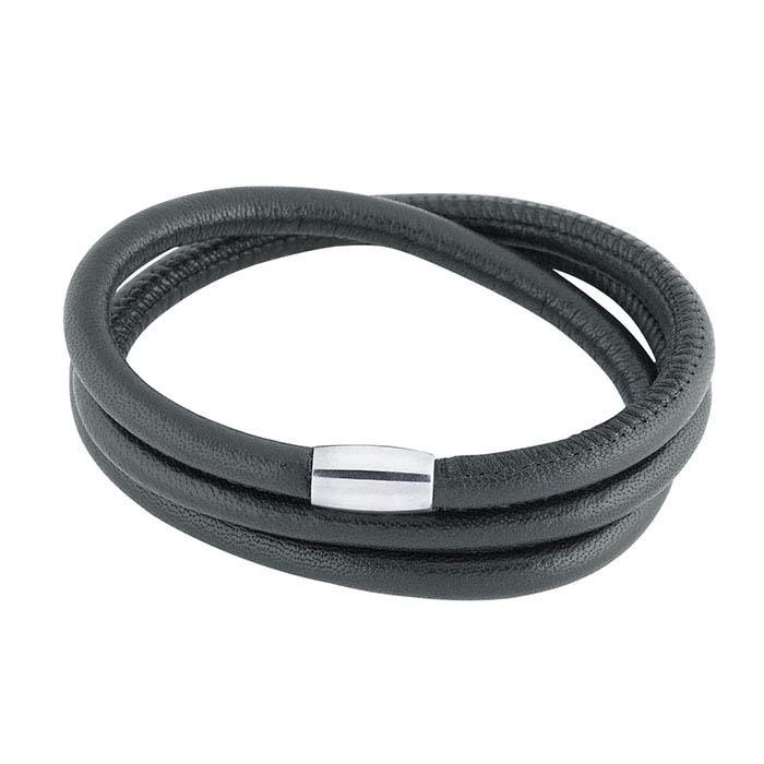 Black Nappa Leather Triple-Wrap Bracelet with Magnetic Clasp