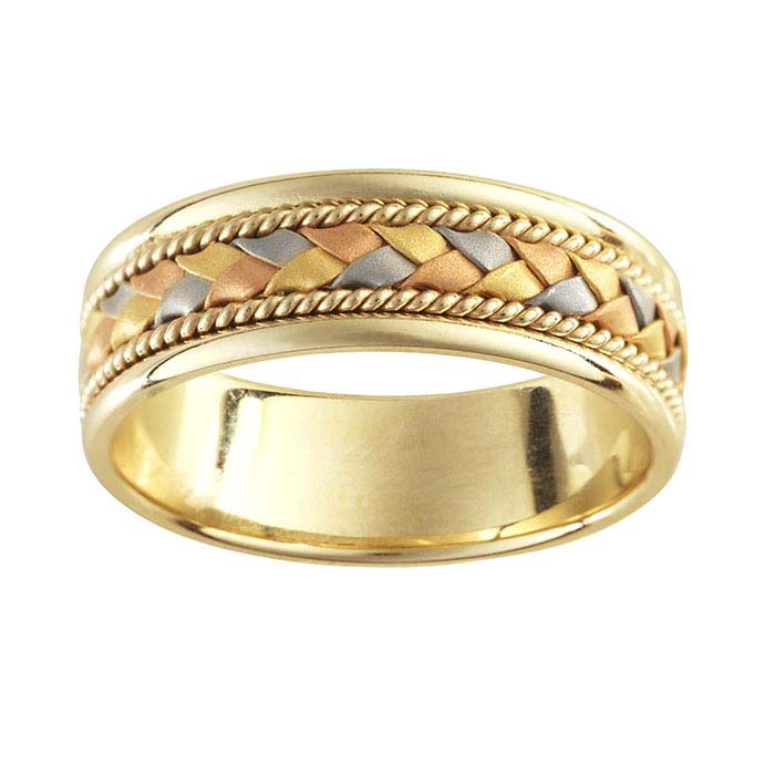 14K Yellow Gold 7mm 14K Tri-Color Gold Braid Accent Wedding Bands