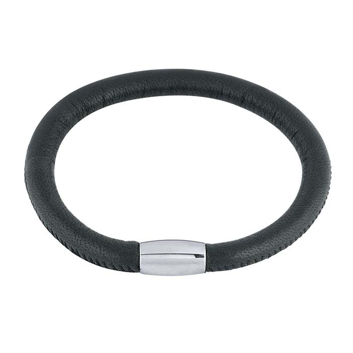 Black Nappa Leather Bracelet with Magnetic Clasp