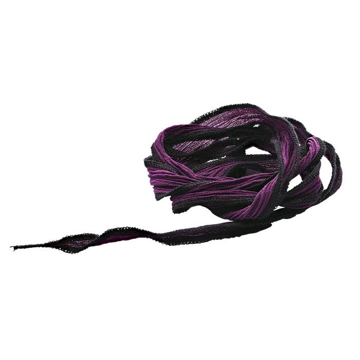 """Deep Purple Dream"" Hand-Dyed Silk 16mm Ribbon, 36"""