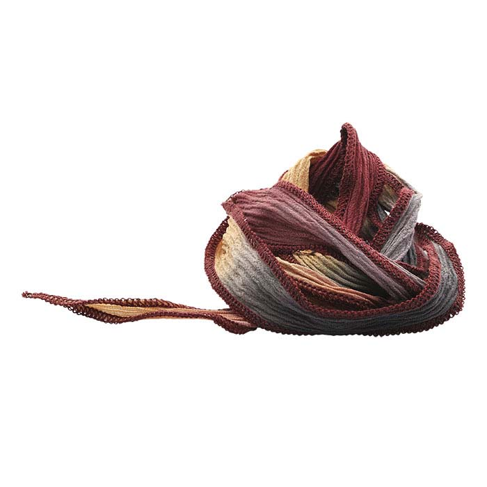 """""""Autumn Palette"""" Hand-Dyed Variegated Silk 16mm Ribbon, 36"""""""