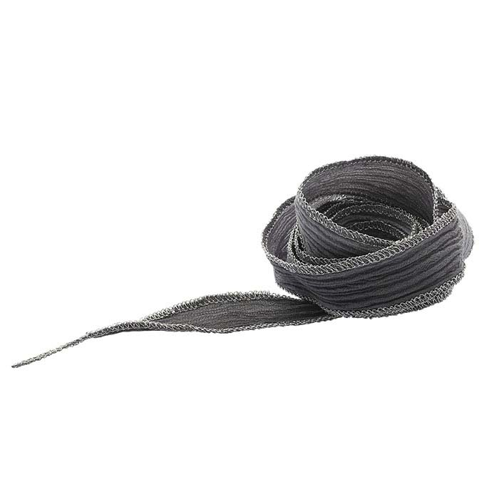 """Gradient Gray"" Hand-Dyed Variegated Silk 16mm Ribbon, 36"""
