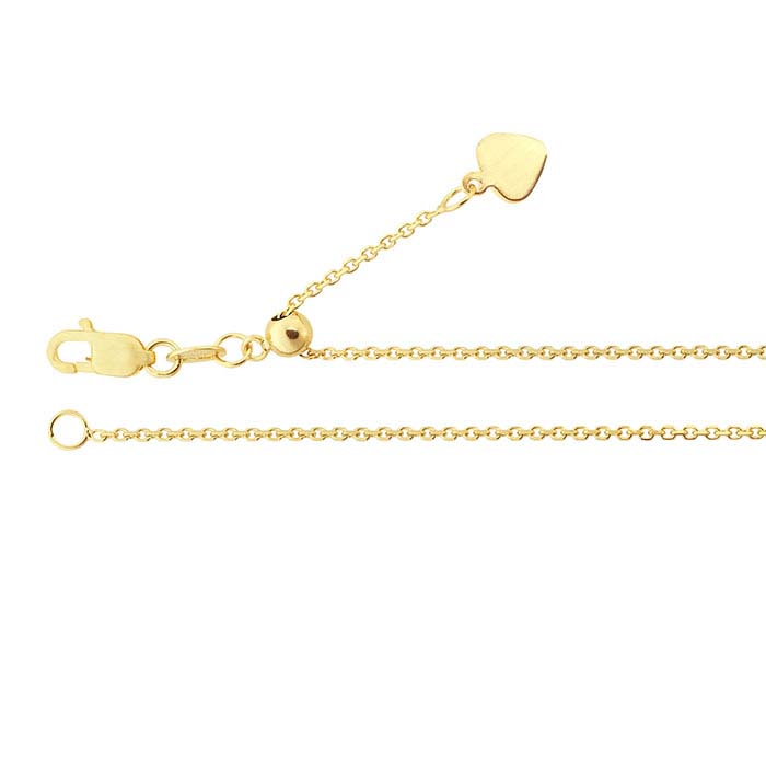14K Yellow Gold 1mm Beveled Oval Cable Chain, Adjustable