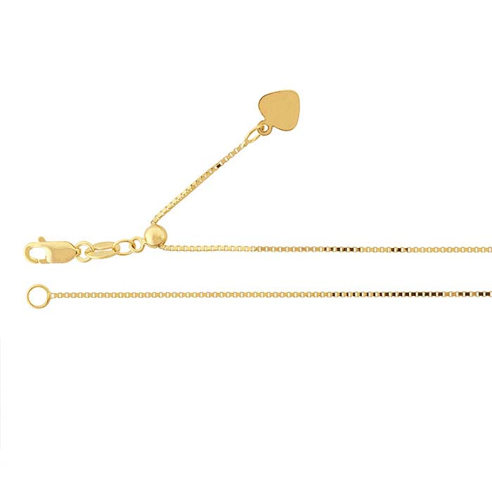 14K Yellow Gold 0.7mm Box Chain, Adjustable