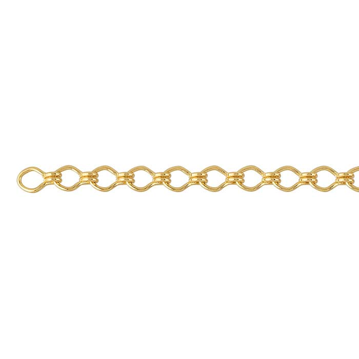 Steel Yellow Gold-Plated 3.8mm Ladder Chain, 20-ft. Spool