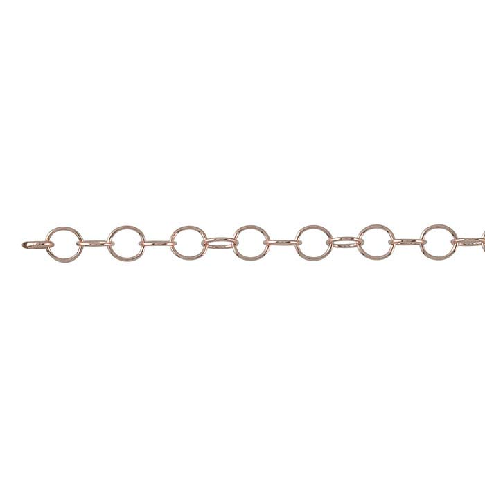 14/20 Rose Gold-Filled 3.3mm Round Cable Chain, By the Foot