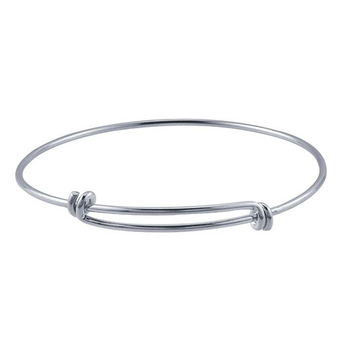 Brass Rhodium-Plated Expandable Bangle Bracelet