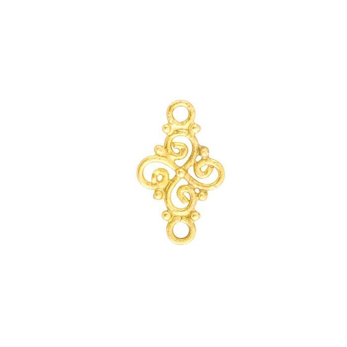 18K Yellow Gold Filigree Swirls Link Component