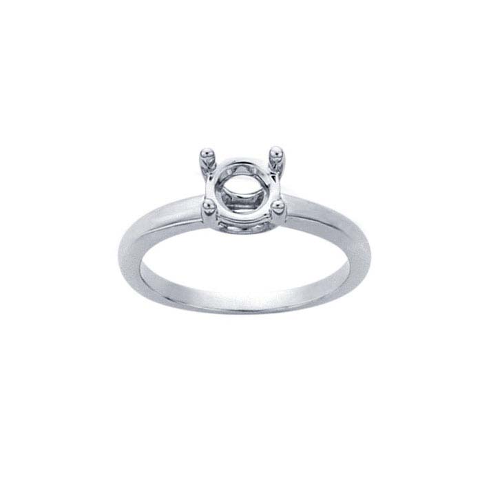 14K White Gold 1-Ct. Round Solitaire Ring Mounting