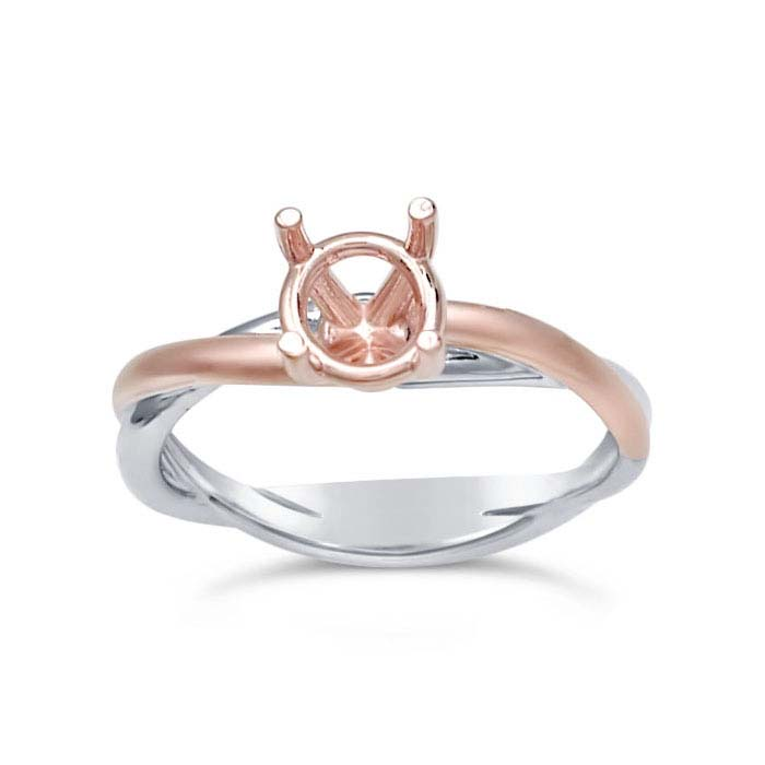 14K White Gold 1-Ct. Round Solitaire Ring Mounting with Rose Gold Accent