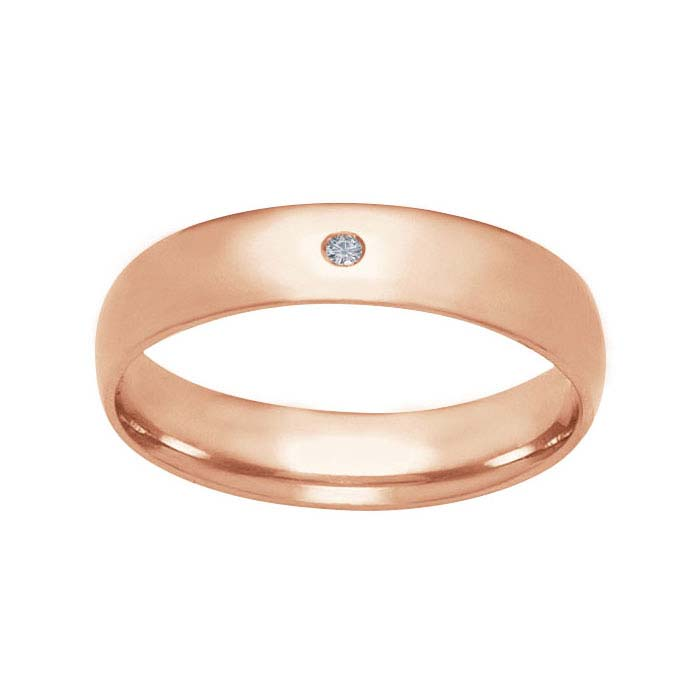 14K Rose Gold Flush-Set Diamond Wedding Bands