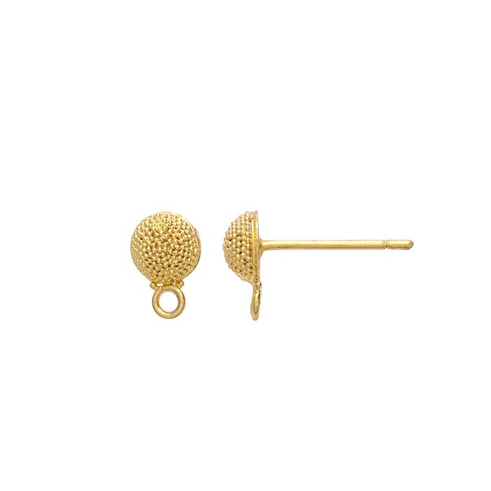 18K Yellow Gold Granulated Half-Ball Post Earring with Closed Ring