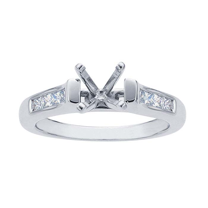 Platinum 1-Ct. Round Semi-Mount Engagement Ring Mounting