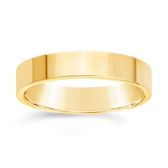 14k yellow gold 4mm flat wedding band