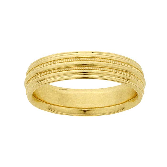 14K Yellow Gold 5mm Millgrain Bands Wedding Bands