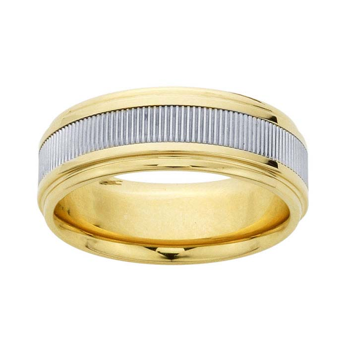 14K Yellow Gold 7mm Wedding Bands with 14K White Gold Coin-Edge Center