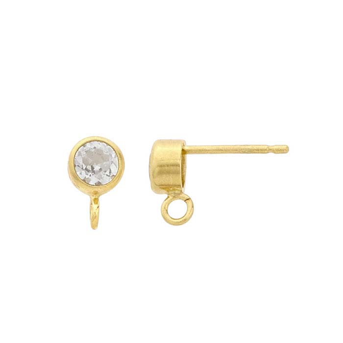14/20 Yellow Gold-Filled White Topaz-Set Post Earring with Open Ring