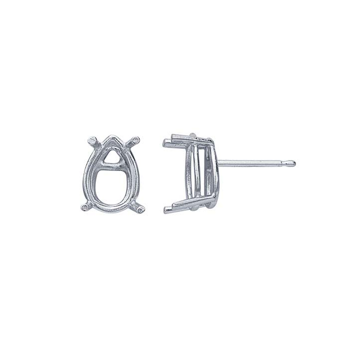14K White Gold 10 x 7mm Pear Basket Post Earring Mounting
