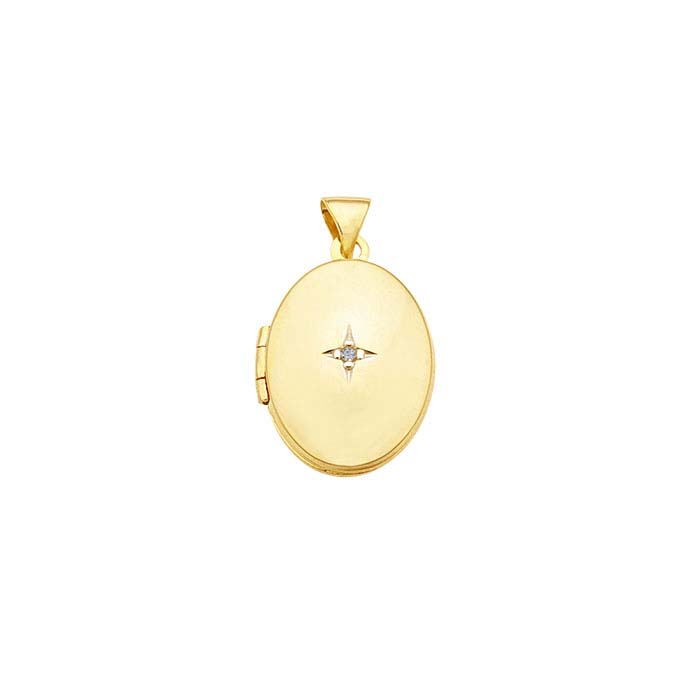 14K Yellow Gold Oval Locket Pendant with Diamond Accent