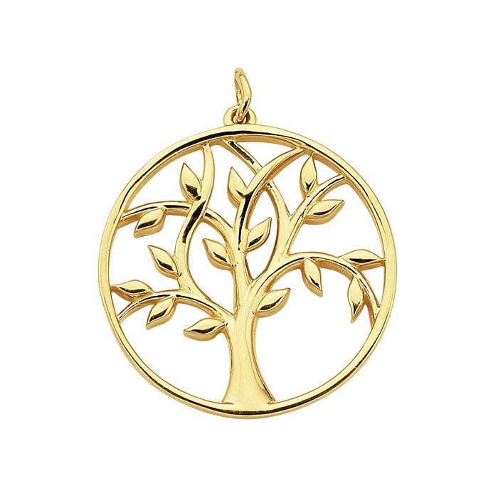 "14K Yellow Gold ""Tree of Life"" Open Round Pendant"