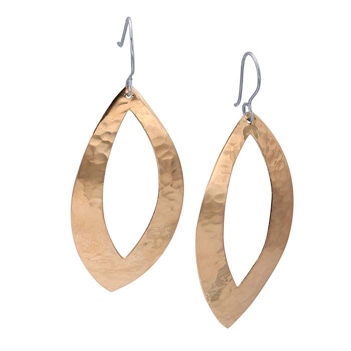 Copper Hammered Open Marquise Earrings
