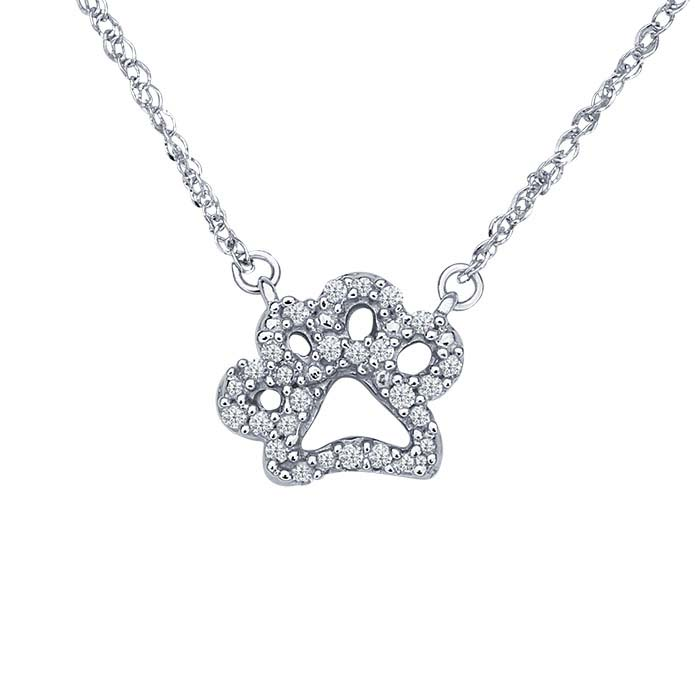 14K White Gold Diamond-Set Paw-Print Festoon Necklace