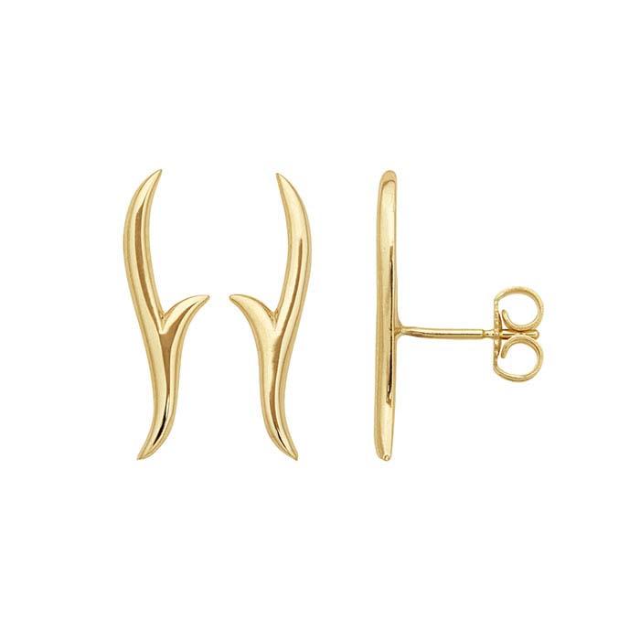 14K Yellow Gold Vine Ear-Climber Post Earrings