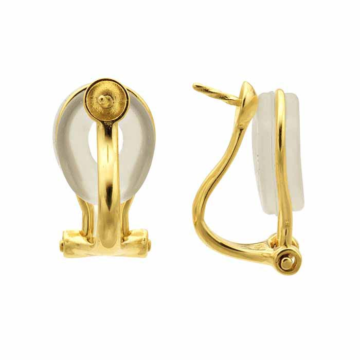14K Yellow Gold Omega Pearl Ear Clip Mounting