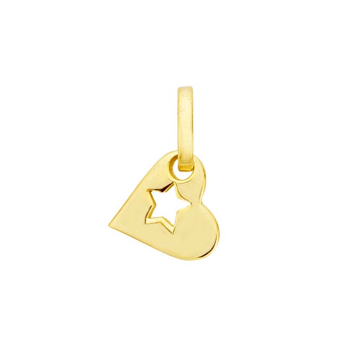 14k yellow gold star cut out heart pendant