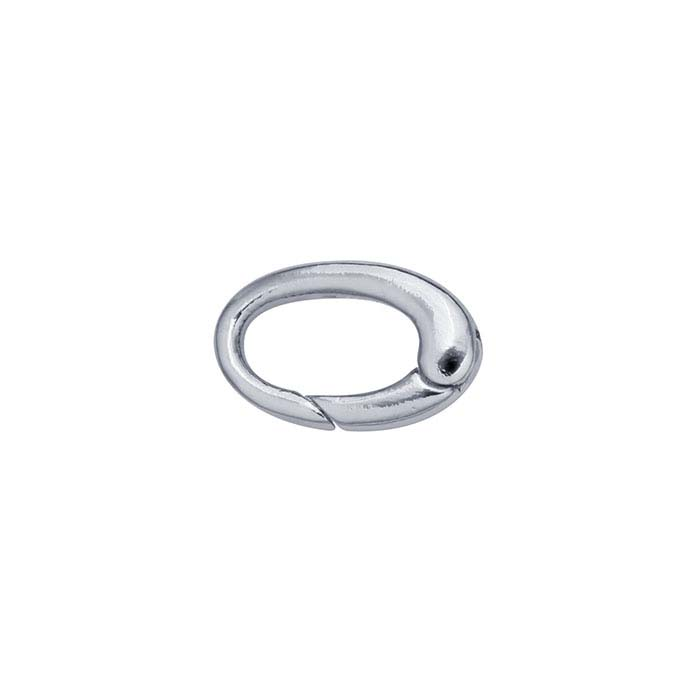 Brass Imitation Rhodium-Plated Oval Push Clasp