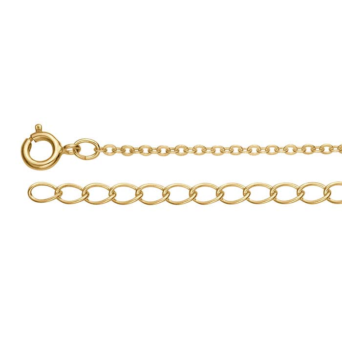 Brass Gold-Plated 1.5mm Flat Cable Chains