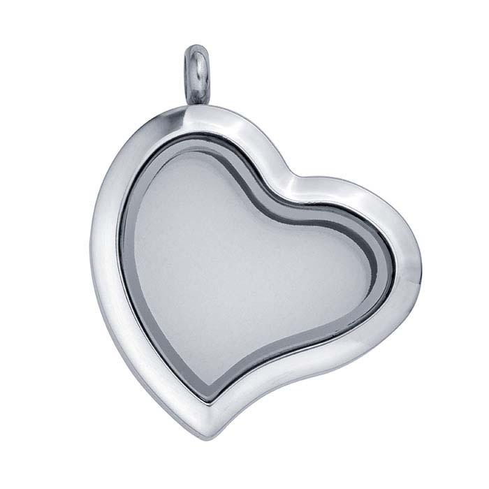 Stainless Steel Heart Floating Glass Locket Pendant