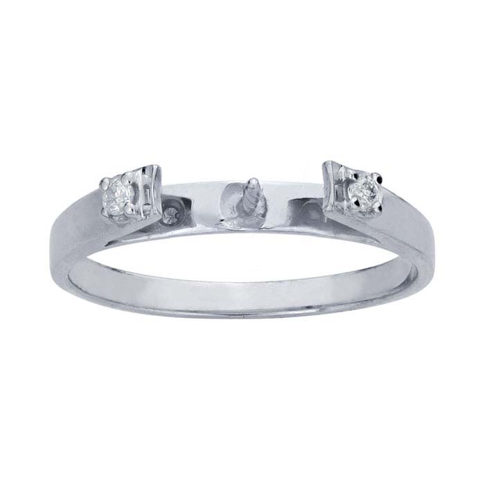 14K White Gold Semi-Mount Pearl Ring Mounting