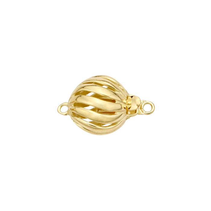 18K Yellow Gold Twist Bead Safety Clasp