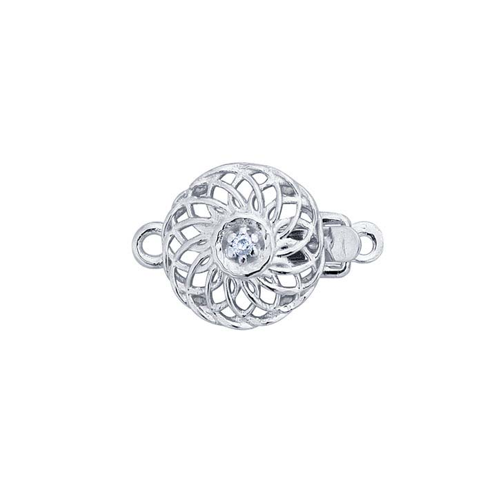 14K White Gold Diamond-Accented Filigree Round Safety Clasp