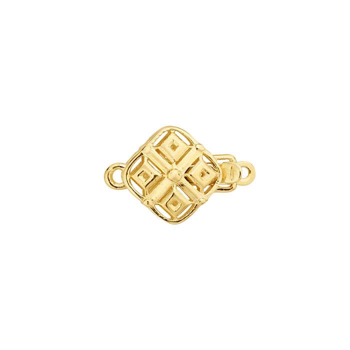 14K Yellow Gold Open Diamond Pattern Safety Clasp