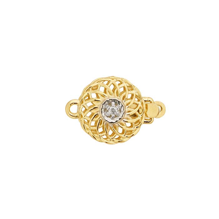 14K Yellow Gold Diamond-Set Filigree Round Safety Clasp