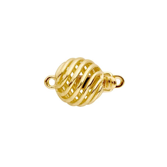 14K Yellow Gold Open Swirl Safety Clasp
