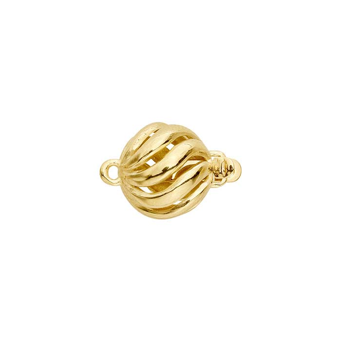 14K Yellow Gold Open Wide Swirl Safety Clasp