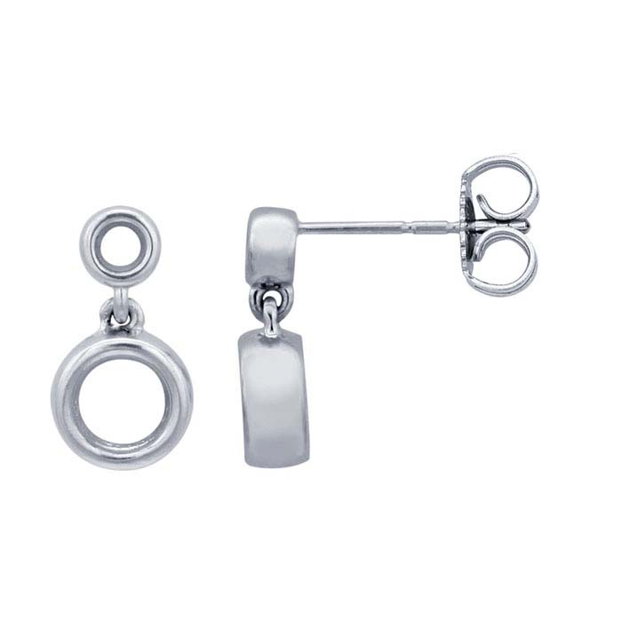 14K White Gold Post Earring Mounting with Drop