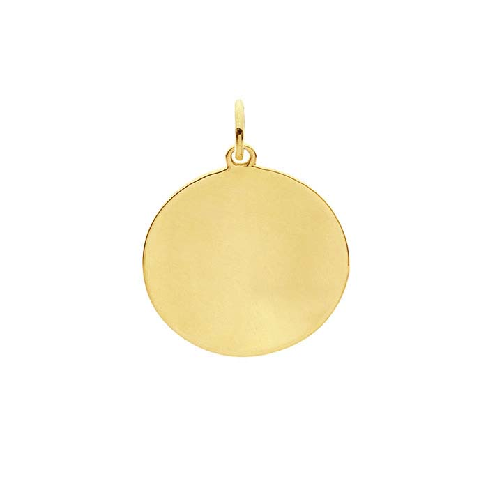 14K Yellow Gold Concave Round Disc Charms