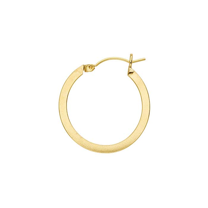 14/20 Yellow Gold-Filled Flat Round Hoop Earrings