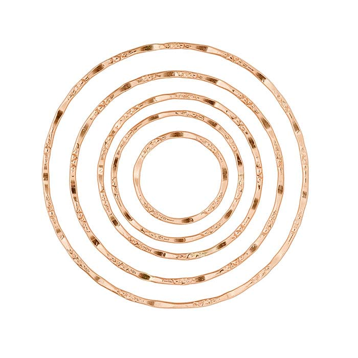 14/20 Rose Gold-Filled Dapped and Textured Concentric Round Component Set