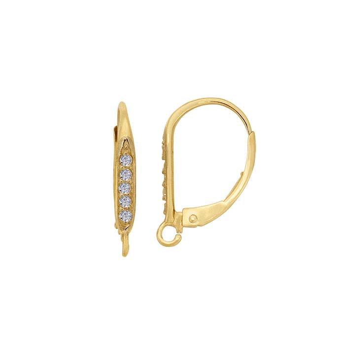 14K Yellow Gold Diamond-Set Lever-Back Ear Wire with Open Ring