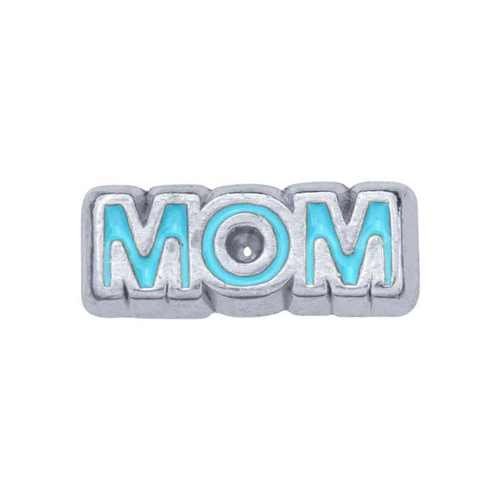 "Base Metal ""Mom"" Rectangle Component for Floating Glass Lockets"