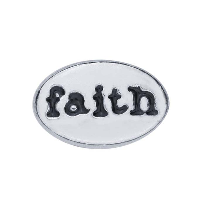 """Base Metal """"Faith"""" Oval Component for Floating Glass Lockets"""